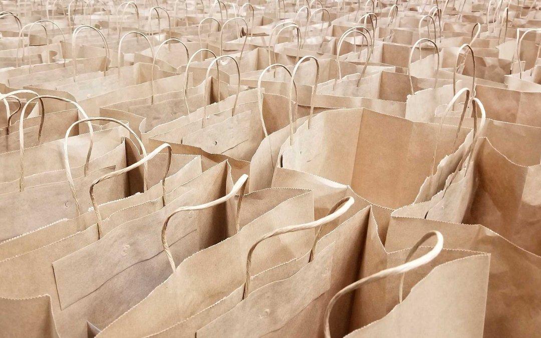 Bolsas recicladas y bolsas de papel para comida